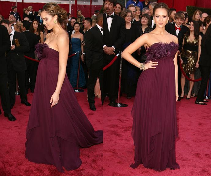 **Best Pregnancy Reincarnation Of A Sleek, Chic, Greek Goddess...** Jessica Alba's 2008 maternity gown is something from the Gods...