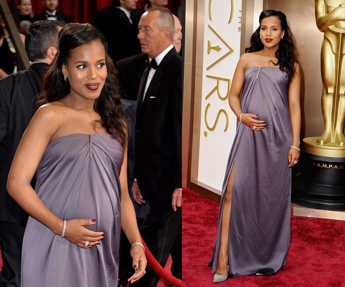 **Best Pregnant Celeb To Rep A Thigh-Split Dress As Scandalous As Angelina Jolie...** Kerry Washington's 2014 Oscars maternity gown is sleek, chic and can't be beat.