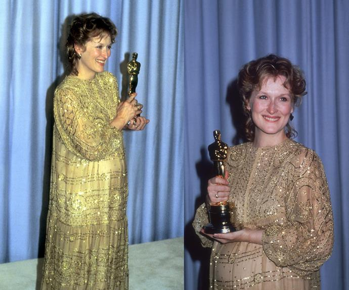 **Best Throwback Maternity Gown That We Would Definitely Wear Today...** Oscars red-carpet veteran [Meryl Streep](http://www.nowtolove.com.au/tags/meryl-streep) gives off a pregnant glow as bright as her 1983 Oscar!