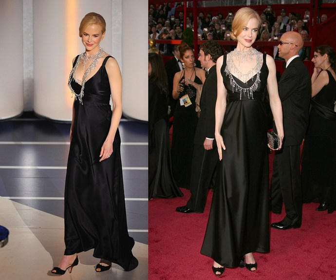 **Best Way To Turn A Regular Gown Into A Winning Maternity Frock...** In 2008, our golden girl, [Nicole Kidman](http://www.nowtolove.com.au/celebrity/celeb-news/nicole-kidman-on-her-caring-nature-5893) took Oscars maternity-wear to stylish new heights with this black floor-sweeper.