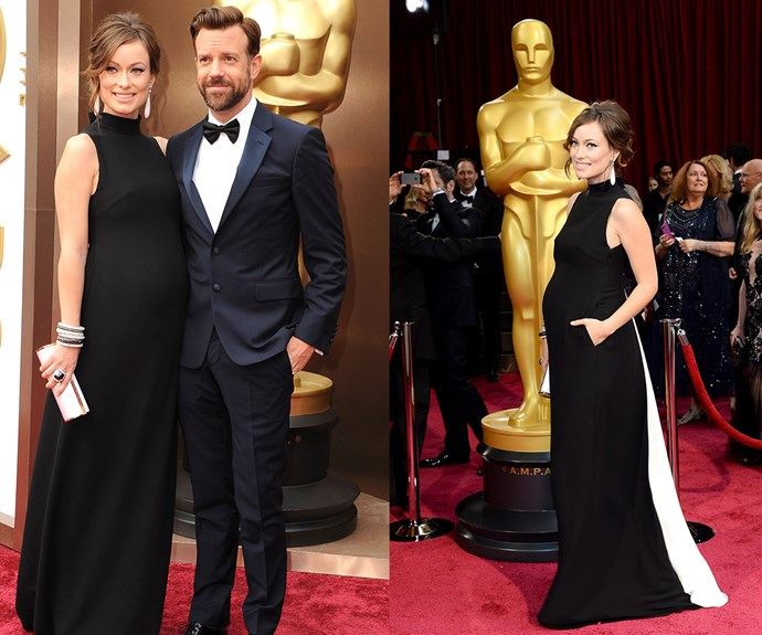 **Most Likely Bump To Distract Everyone From The Actual Awards Ceremony...** It was very difficult to focus on the 2014 Academy Awards thanks to beautiful, pregnant celebrities, like [Olivia Wilde](http://www.nowtolove.com.au/celebrity/celeb-news/olivia-wilde-and-jason-sudeikis-welcome-baby-number-two-29036), who managed to steal the spotlight from their well-dressed better halves (sorry, Jason Sudeikis!).