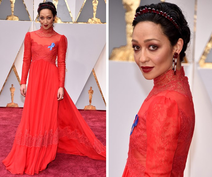 "Best Actress nominee for *Loving* Ruth Negga dazzles in this high-neck Valentino red gown. The actress added a blue ACLU badge in honour of American civil liberties. **Check out more political statements at the [2017 Oscars here](http://www.nowtolove.com.au/news/latest-news/biggest-political-statements-on-the-red-carpet-35455|target=""_blank"")**"