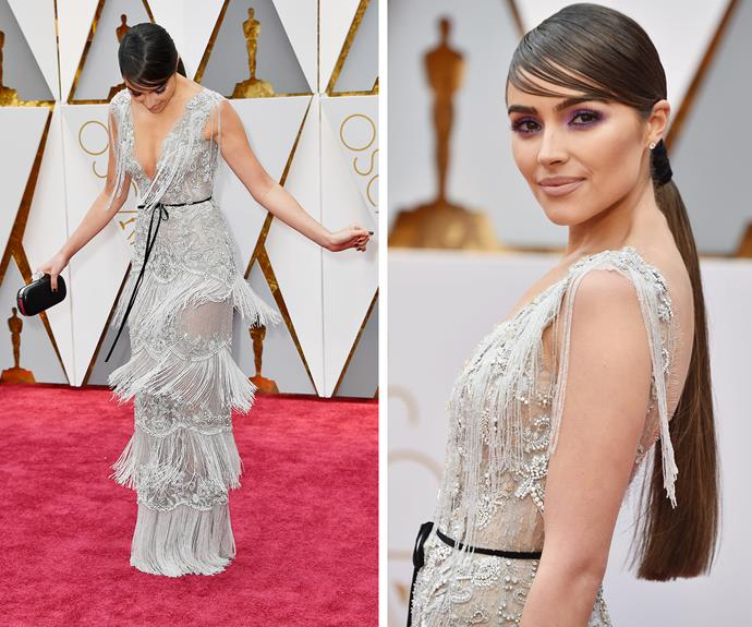 Olivia Culpo shows off her best shimmy in this layered Marchesa dress.