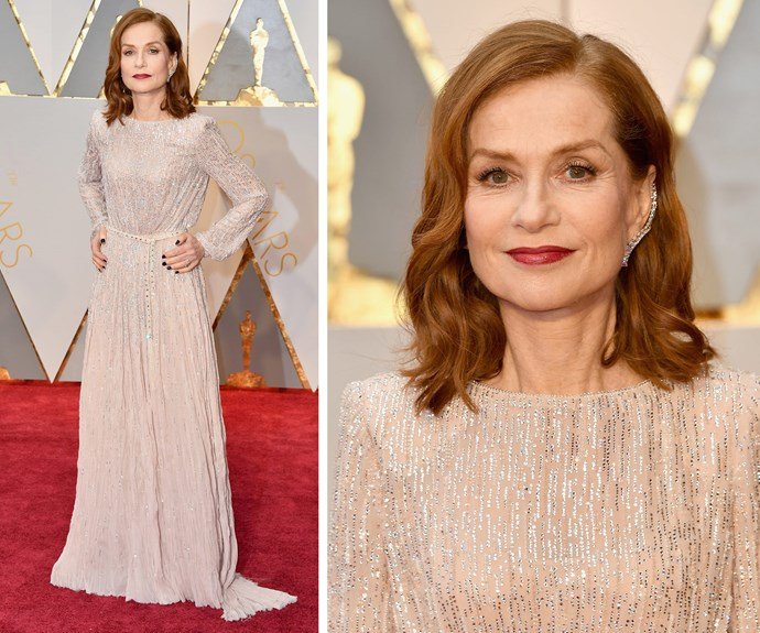 Best Actress nominee for *Elle* Isabelle Huppert stuns in this sequinned number.