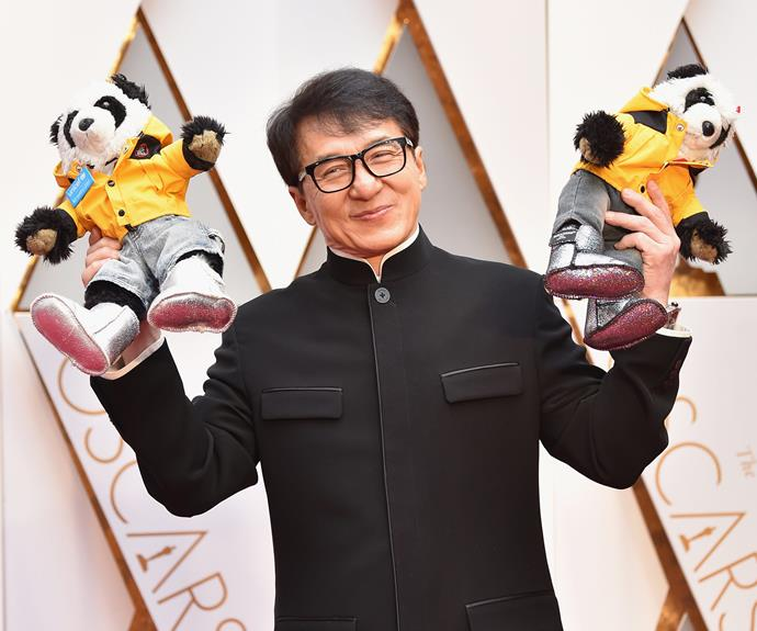 Last year's honorary Oscar winner Jackie Chan brings along two pandas on behalf UNICEF.