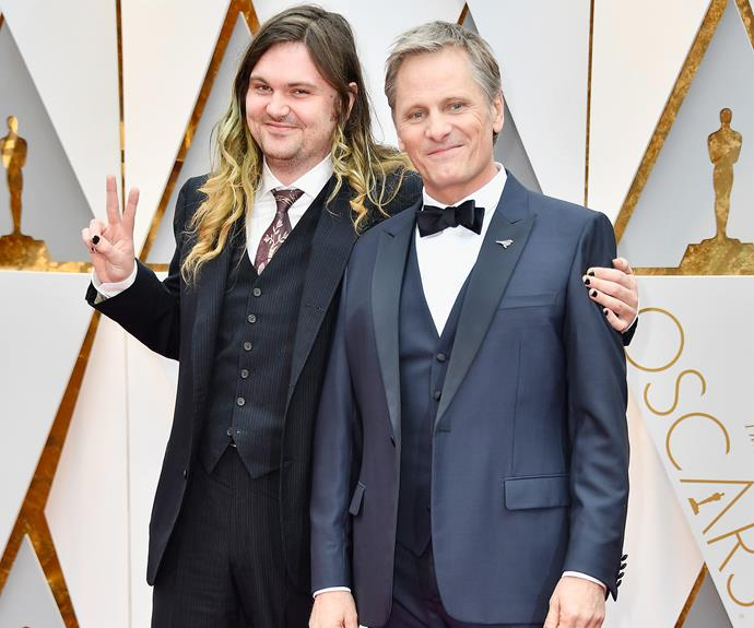 *Captain Fantastic* star Viggo Mortensen, who is nominated for Best Actor, brought his 29-year-old son Henry along for his big night.