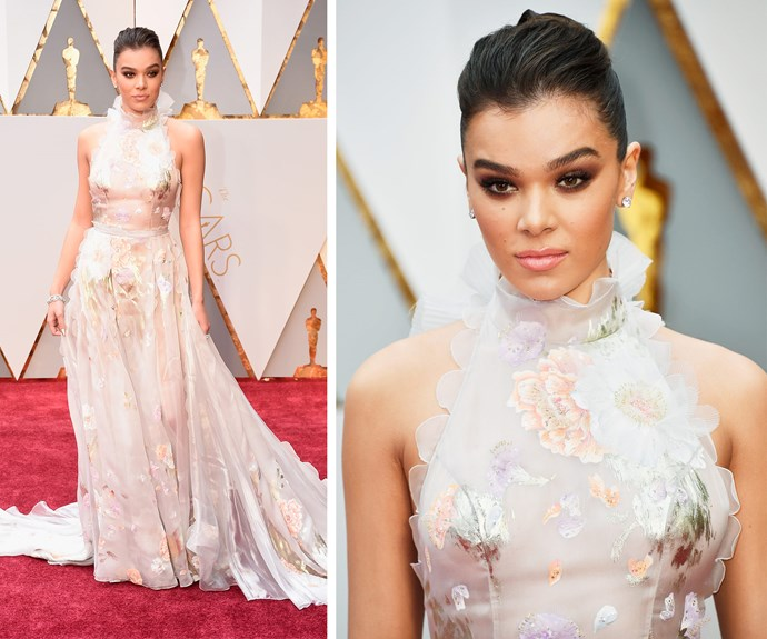 We are loving Hailee Steinfeld's Ralph & Russo sheer number.