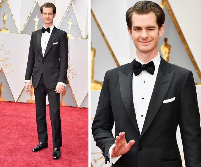"Will tonight be Andrew Garfield's lucky night? ""I feel very proud to be named alongside these other actors. I'm here tonight with my dad and mum and two of my closest friends from back home,"" the Best Actor nominee beamed."