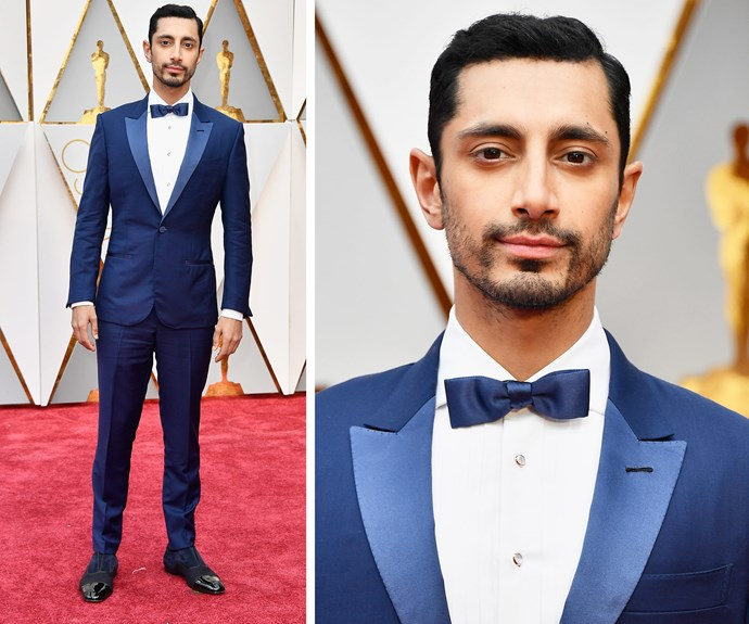 Riz Ahmed, who recently made a cameo on *Girls*, looks oh so dapper in this soft blue tux.