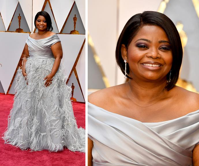 Octavia Spencer beams with excitement as she stuns in a feathered Marchesa ensemble.