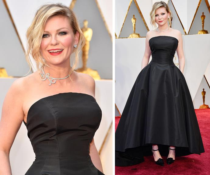 What a dream! Kirsten Dunst steps out in a strapless black dress.