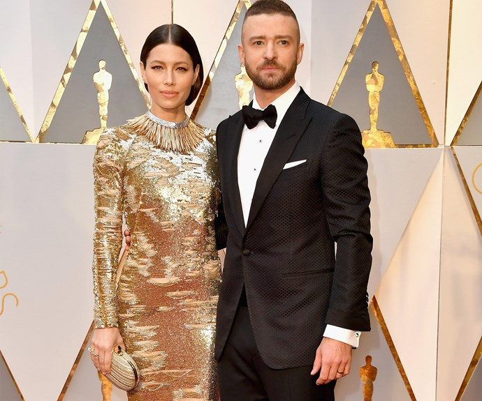 Justin Timberlake brought along a real-life Oscar, his stunning wife Jessica Biel.
