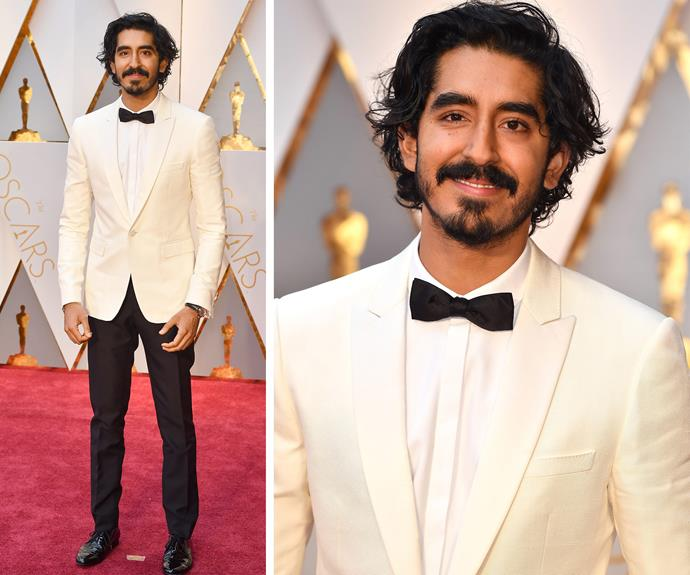 Best Supporting Actor nominee Dev Patel cuts a dapper figure in this cream-coloured blazer.