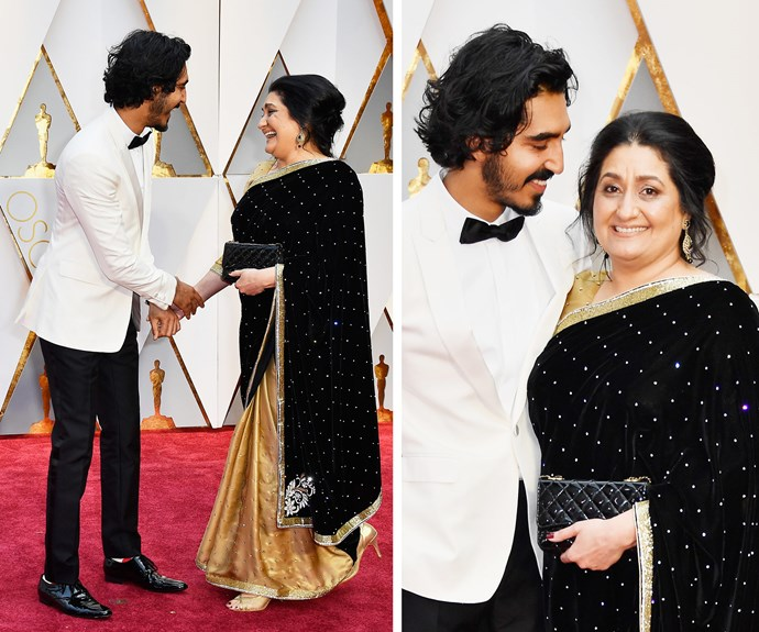 "And in case you couldn't love the *Lion* star anymore, he also brought along his mother, Anita. ""My mum is constantly on the verge of tears, they're happy tears,"" he told *E!*"