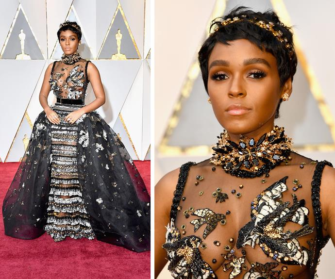 Janelle Monáe slays the red carpet in this eye-catching creation.