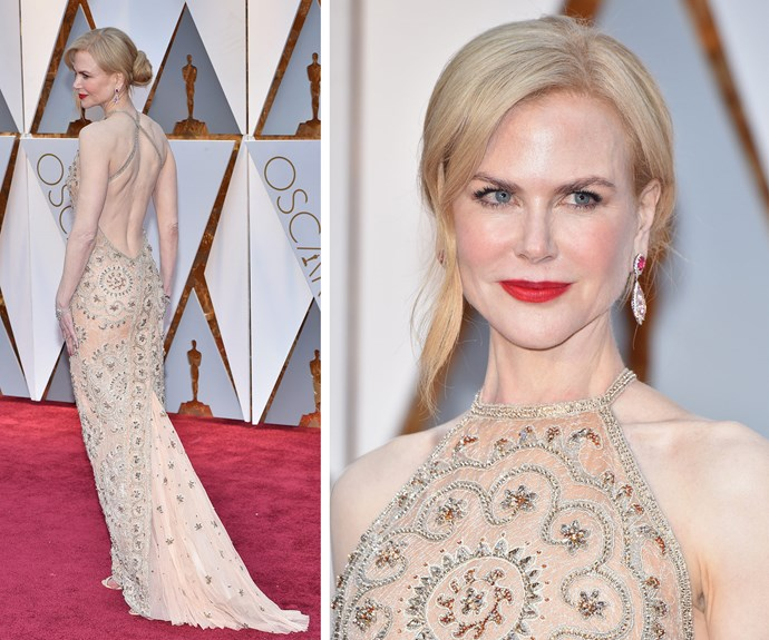 The Oscar nominee opted for a beaded Armani Privé gown.