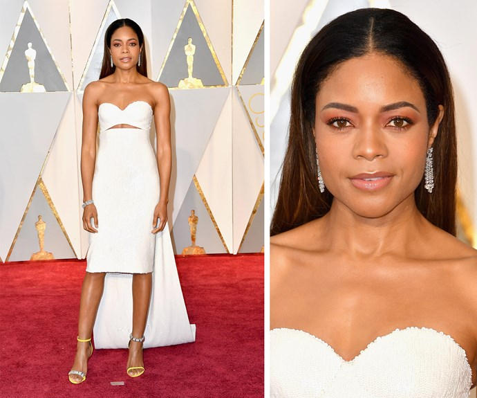 Best Supporting Actress nominee Naomie Harris glows in white.