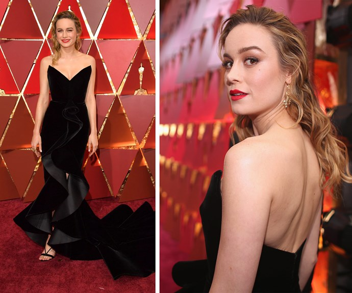 Brie Larson stuns in this fitted gown.