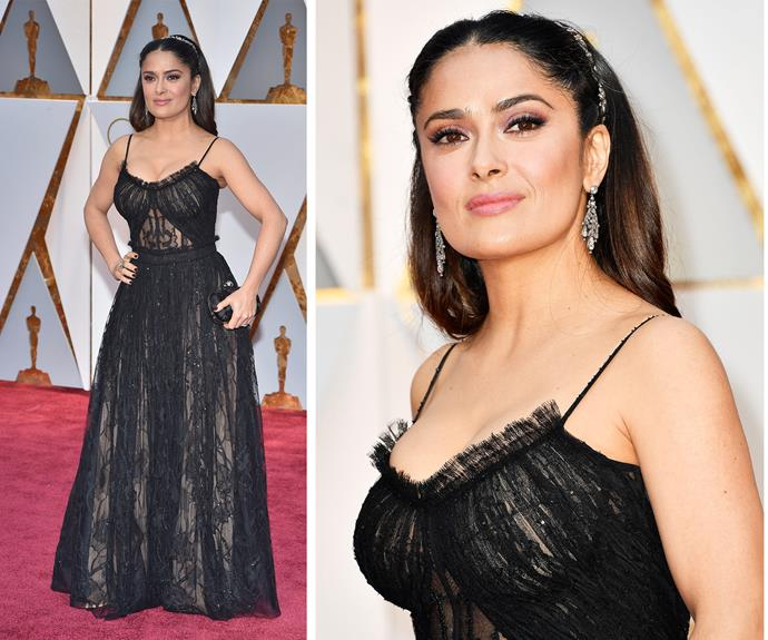 Salma Hayek rocks a lace McQueen design.