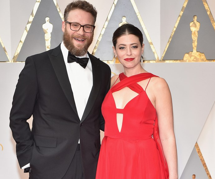 Seth Rogen with his wife Lauren Miller.