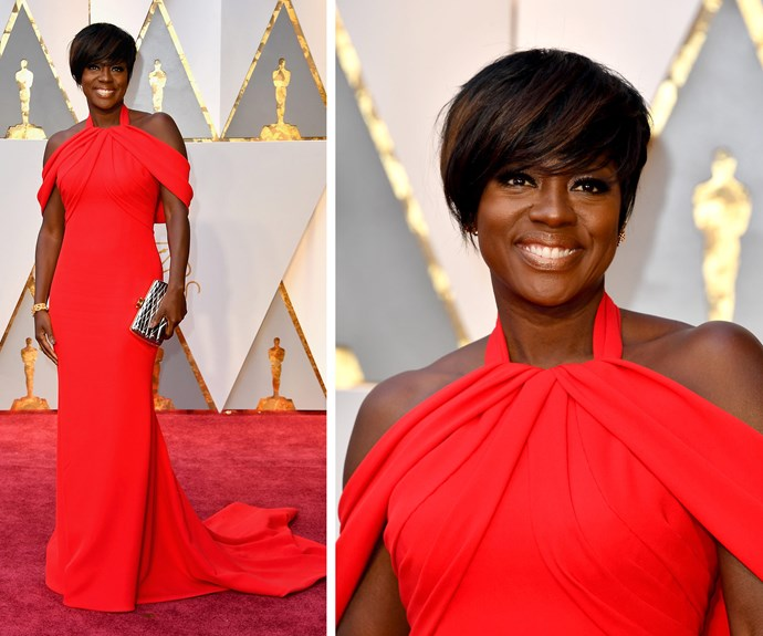 Lady in red! We just adore Viola Davis.