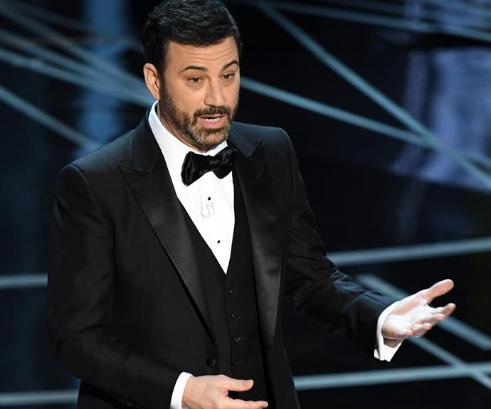 Jimmy Kimmel wasted no time taking a hit at Trump.