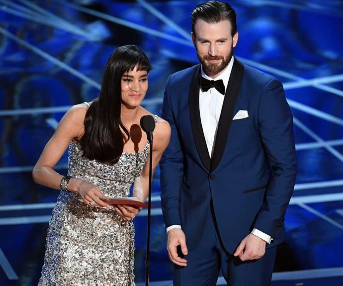Chris Evans and Sofia Boutella share a laugh.