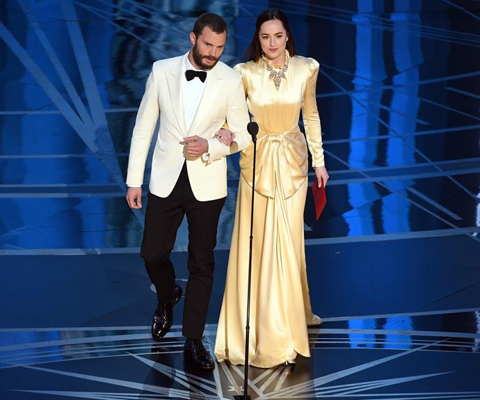 *50 Shades* co-stars Jamie Dornan and Dakota Johnson pretended they didn't know each other before they presented an award together.