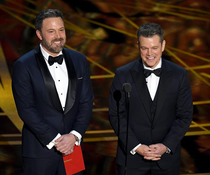 Coming full circle: 20 years after their Oscar win for Best Screenplay for *Good Will Hunting*, besties and creative comrades Ben Affleck and Matt Damon reunite to present the same category they won for.