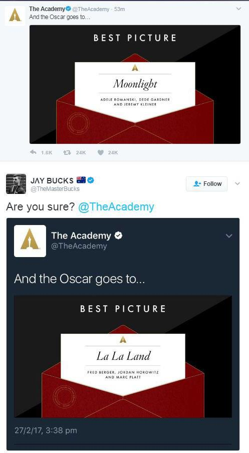 Even The Academy's twitter page got it wrong.