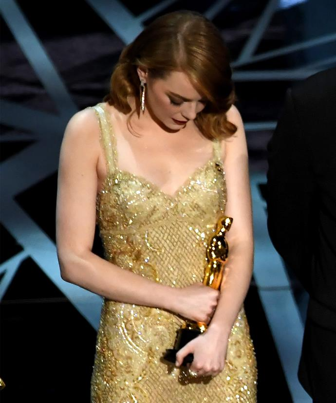 While Emma Stone is visibly upset for her team.