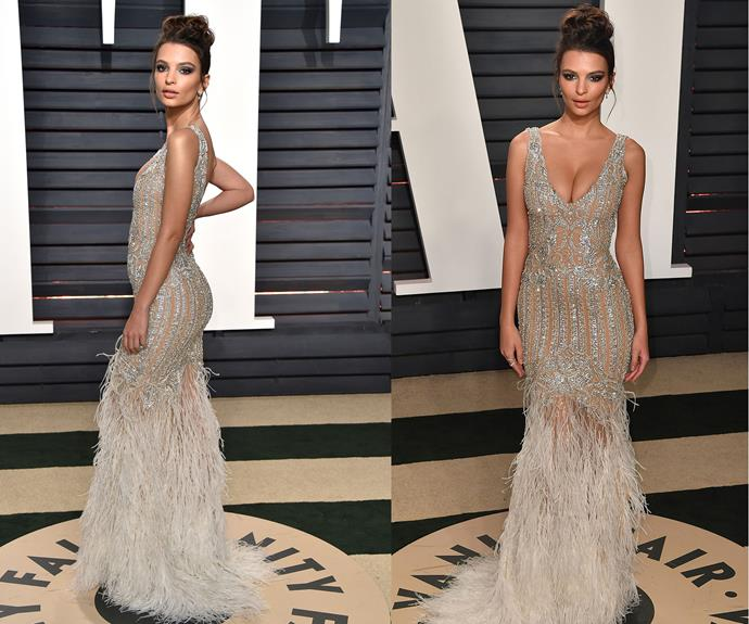 Emily Ratajkowski looks like she got some inspiration from an *actual* Oscars statue.