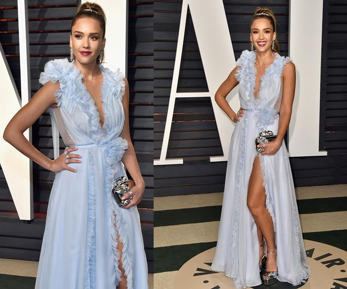 Jessica Alba is pastel perfection in this ruffled number.