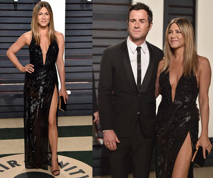 Jennifer Aniston looks a million dollars in this black dress with the sexiest split we ever did see.
