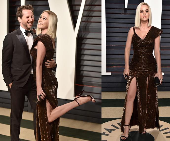 Before she met up with Orly, Katy walked the red carpet with her pal Derek Blasberg.