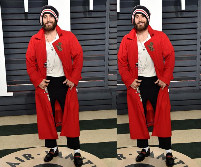 Jared Leto looks every bit, *well*, Jared Leto in this Gucci ensemble.