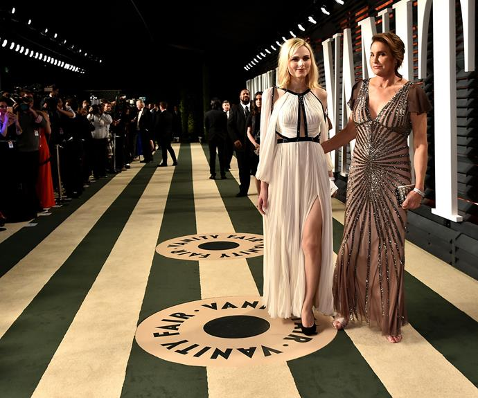 Caitlyn Jenner and Andreja Pejic make their way into the after party.