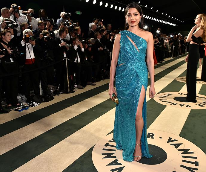 Freida Pinto's turquoise gown make a sequin dress totally acceptable.