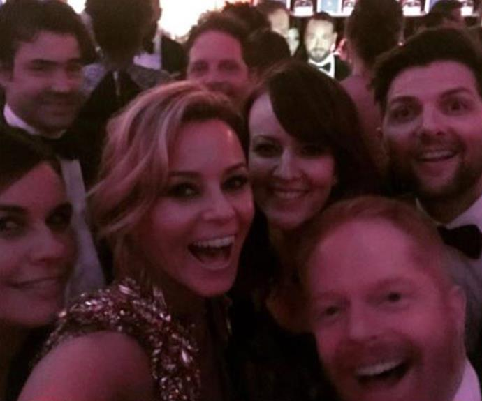 "Elizabeth Banks and her pals all squeeze into the frame. 'I ❤️this bunch of nerds - we grew up in this business together and I am grateful to know them. #ronlivingston #rosemariedewitt #adamscott @maxhandelman @jessetyler @nfscott,"" she penned."