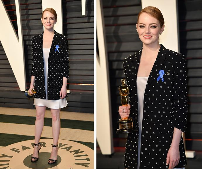 "Best Actress winner Emma Stone changed into a chic slip dress and an oversized beaded cardigan for the *Vanity Fair* bash. Reflecting on the epic Best Picture gaffe, the Oscar winner [told *The Daily Mail*](http://www.dailymail.co.uk/tvshowbiz/article-4265550/Emma-Stone-One-horrible-moments-life.html|target=""_blank"") the accident was ""one of the most horrible moments of my life. Wow! It was just so horrible."""