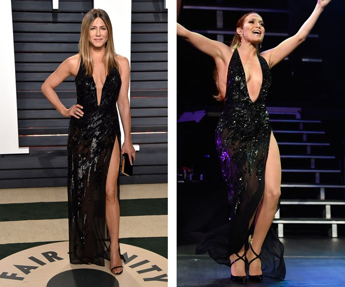 Jennifer Aniston looked stunning at the *Vanity Fair* Oscars after party, but turns out Jennifer Lopez actually wore the slinky Versace dress back in August 2016. We think both women looked amazing!