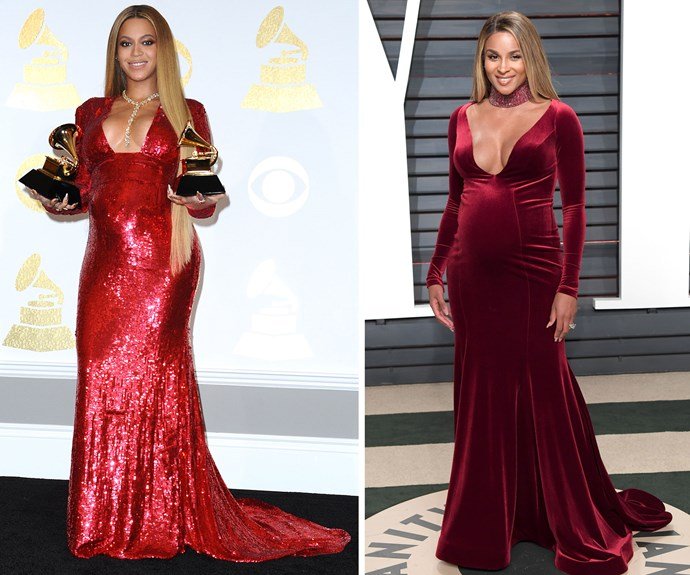When Beyoncé won her two Grammy awards earlier this year, she chose a figure-hugging, red sequin dress for the occasion. Ciara chose a similar silhouette (and colour!) for the Oscars after party, and who can blame her? This style is clearly a winner.