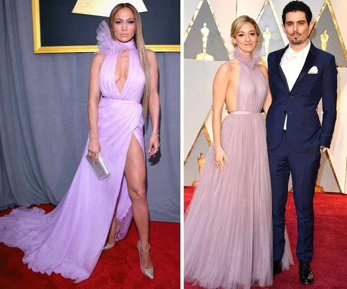 Jennifer Lopez wore this lavender gown to the 2017 Grammys, and the pastel colour might have been the inspiration for actress Olivia Hamilton's gown at the 2017 Oscars..