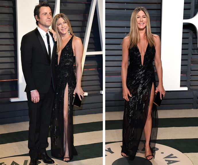 Jen, who stunned in a sparkling black gown and over $10 million worth of diamonds, attended the ceremony with her husband Justin Theroux.
