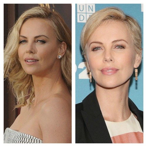 Charlize Theron's pixie cut highlights her stunning cheekbones.