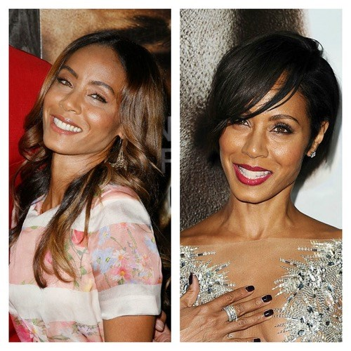 Jada Pinkett Smith's shorter hair and side fringe help draw attention to her beautiful smile.