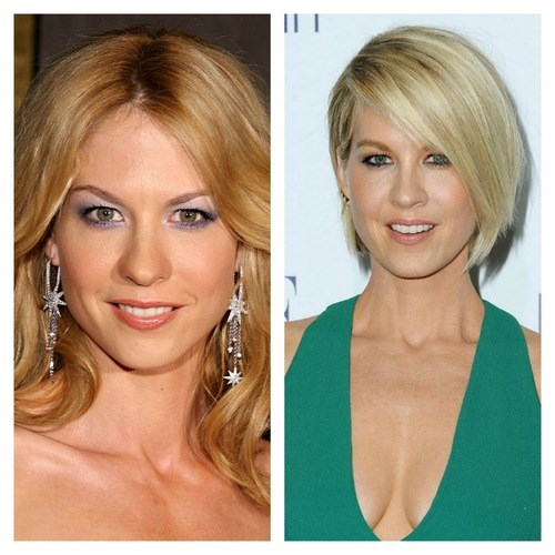 Jenna Elfman's shorter cut plays up her stunning eyes.