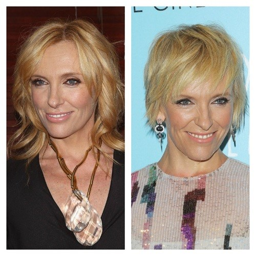 Toni Collette's textured bob and a choppy fringe elevates her look from safe to edgy.