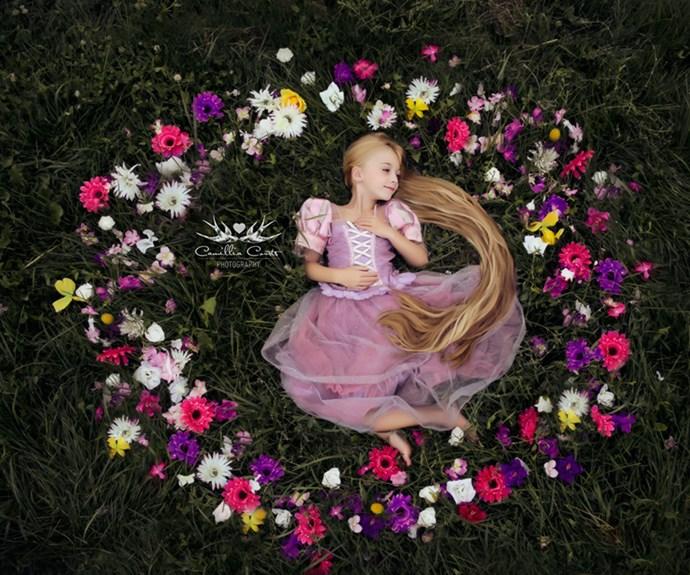 This Rapunzel's look is giving us #HairGoals.