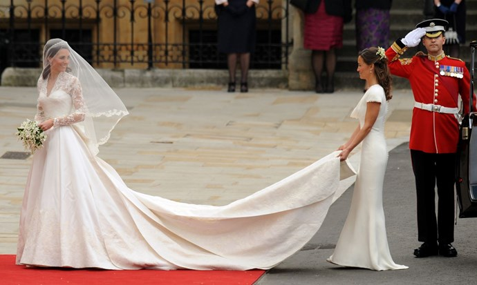 Ultimate bridesmaid Pippa was an ivory dream at sister Catherine's 2011 wedding to Prince William.